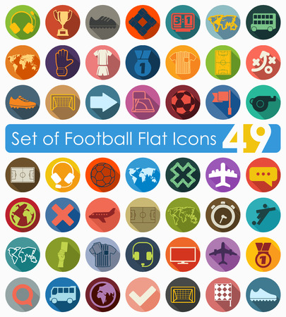 linesman: Set of football flat icons for Web and Mobile Applications Illustration