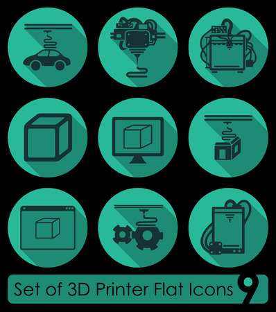 three d: Set di icone piane tre stampanti d per Web e Mobile Applications Vettoriali