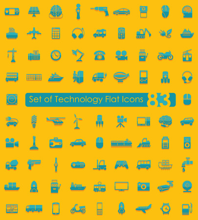 complex system: Set of technology flat icons for Web and Mobile Applications Illustration