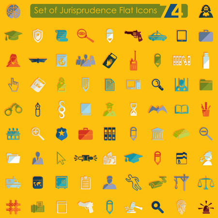 jurisprudencia: Conjunto de iconos planos jurisprudencia para aplicaciones Web y móviles