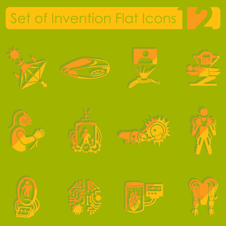 invention: Set of invention flat icons for Web and Mobile Applications