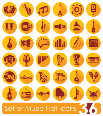 workmanship: Set of music flat icons for Web and Mobile Applications