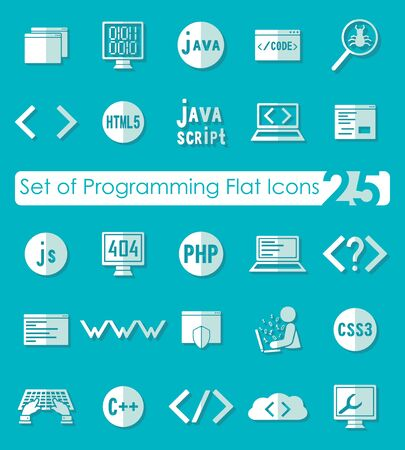 software design: Set of programming flat icons for Web and Mobile Applications Illustration
