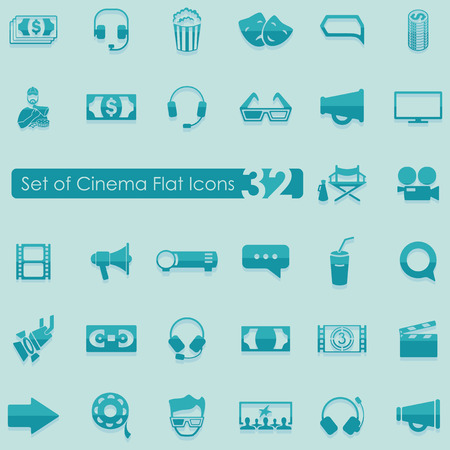 preview: Set of cinema flat icons for Web and Mobile Applications