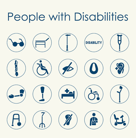 It is a set of people with disabilities simple web icons