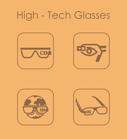 artificial: It is a set of high-tech glasses simple web icons Illustration