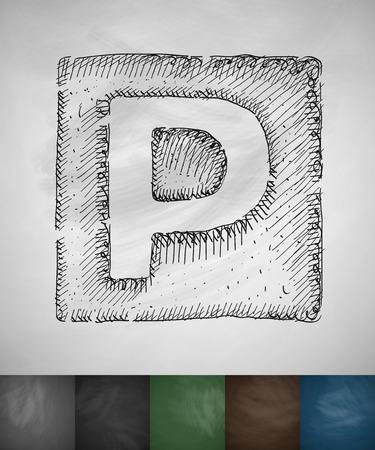taxista: icono de aparcamiento. Dibujado a mano ilustración vectorial. Pizarra Diseño Vectores