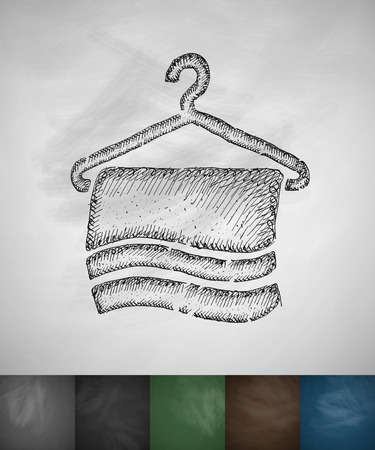 タオルのアイコン。手には、ベクター グラフィックが描画されます。黒板のデザイン