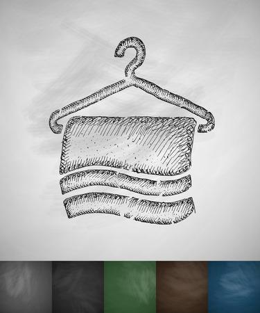 수건 아이콘입니다. 손으로 그린 된 벡터 일러스트 레이 션. 칠판 디자인