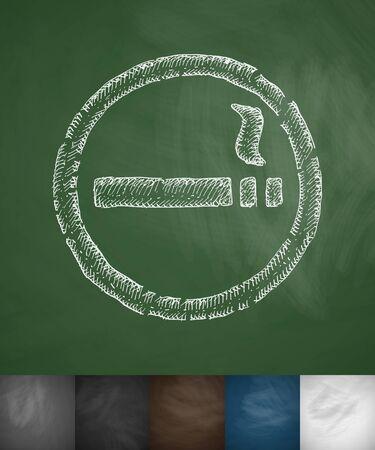mal aliento: icono de fumar. Dibujado a mano ilustraci�n vectorial. Pizarra Dise�o Vectores