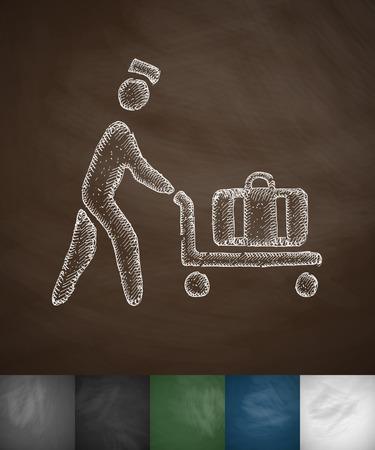 porter: porter icon. Hand drawn vector illustration. Chalkboard Design Illustration
