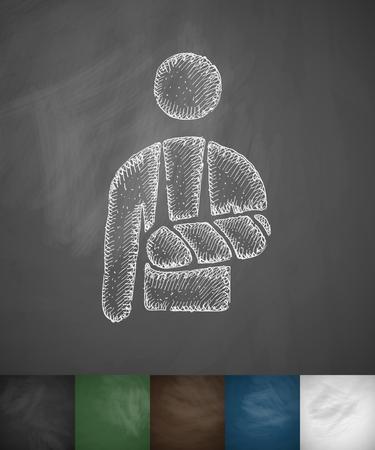 brazo roto: icono brazo roto. Dibujado a mano ilustraci�n vectorial. Pizarra Dise�o Vectores