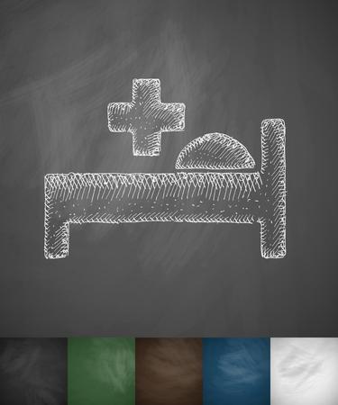 hospital bed: hospital bed icon. Hand drawn vector illustration. Chalkboard Design Illustration