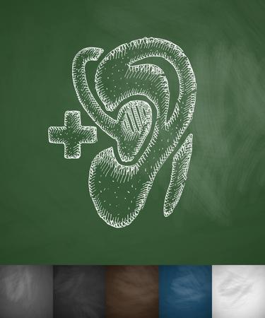 hearing aid: hearing aid icon. Hand drawn vector illustration. Chalkboard Design Illustration