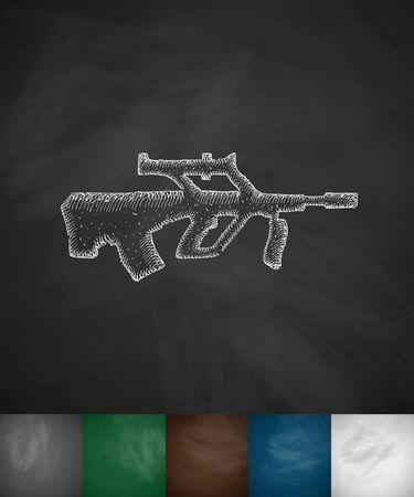threaded: automatic rifle icon. Hand drawn vector illustration. Chalkboard Design