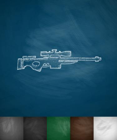 threaded: sniper rifle icon. Hand drawn vector illustration. Chalkboard Design