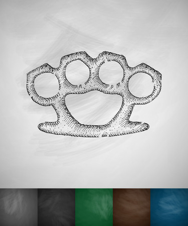 knuckles: brass knuckles icon. Hand drawn vector illustration. Chalkboard Design
