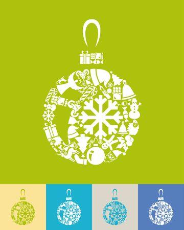크리스마스 공: illustration of the christmas ball with icons composition