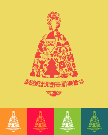 christmas bell: illustration of the christmas bell with icons composition Illustration