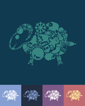 bleating: illustration of the sheep with icons composition