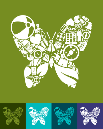 petite: illustration of the butterfly with icons composition Illustration