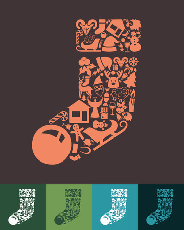 sock: illustration of the christmas sock with icons composition