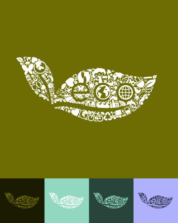 ecological adaptation: illustration of the eco sign leaf with icons composition