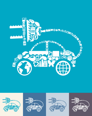eco car: illustration of the eco car with icons composition