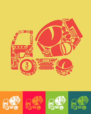 illustration of the Cement Mixer with icons composition