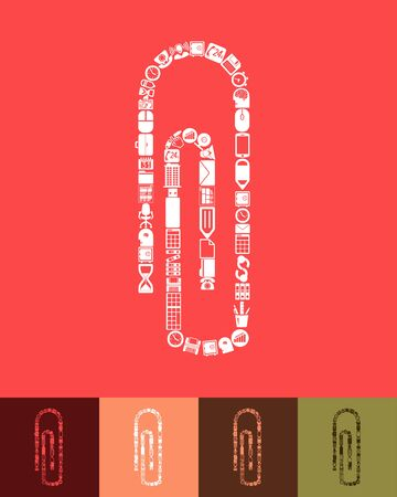 paper  clip: illustration of the paper clip with icons composition Illustration