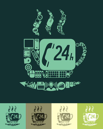 joyfulness: illustration of the coffee with icons composition