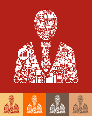 office people: illustration of the office people with icons composition