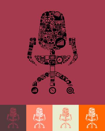 sedia ufficio: illustrazione della sedia da ufficio con le icone di composizione