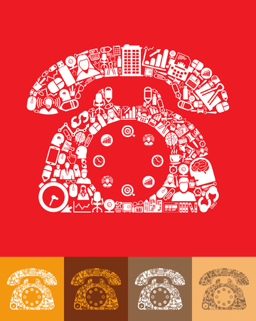 telephone icons: illustration of the telephone with icons composition