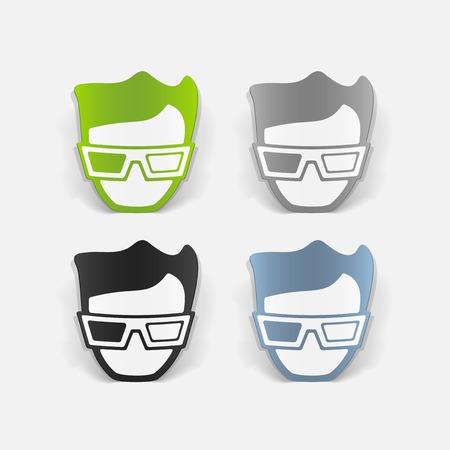 3d glasses: realistic design element: 3d glasses