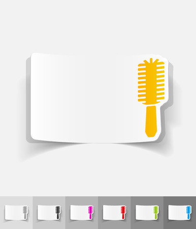 hair brush: hair brush paper sticker with shadow. Vector illustration