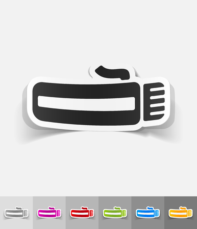 hairclipper: hairclipper paper sticker with shadow. Vector illustration Illustration