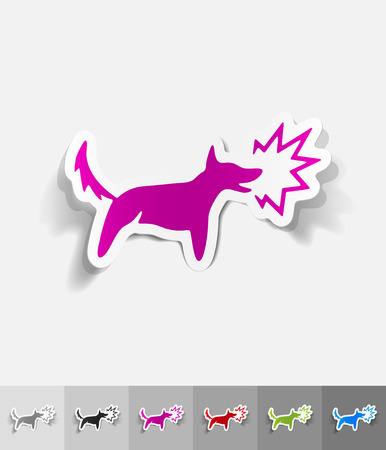 barking: dog barking paper sticker with shadow. Vector illustration