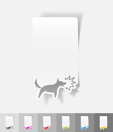 barking dog: dog barking paper sticker with shadow. Vector illustration