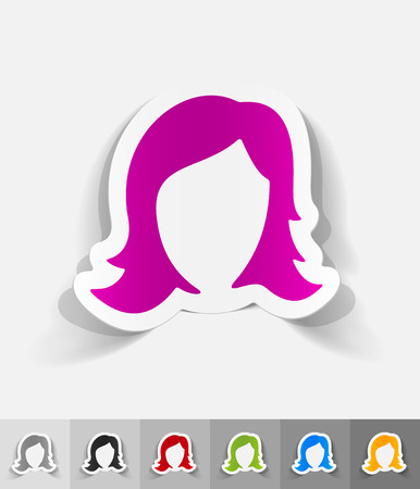 hair styling: hair styling paper sticker with shadow. Vector illustration