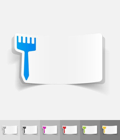 outdoor goods: brush paper sticker with shadow. Vector illustration