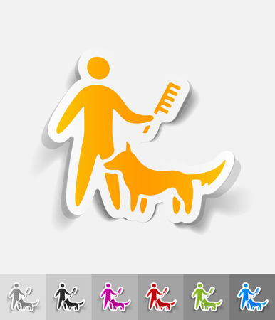 combing: caring for a dog paper sticker with shadow. Vector illustration Illustration