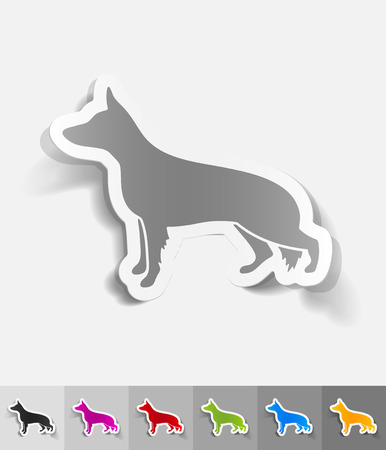 morphology: german shepherd paper sticker with shadow. Vector illustration Illustration