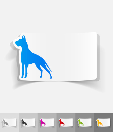 dane: great dane paper sticker with shadow. Vector illustration Illustration