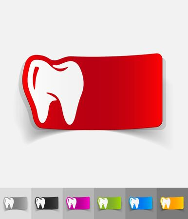 smiles teeth: tooth paper sticker with shadow. Vector illustration