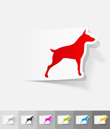 doberman paper sticker with shadow. Vector illustration
