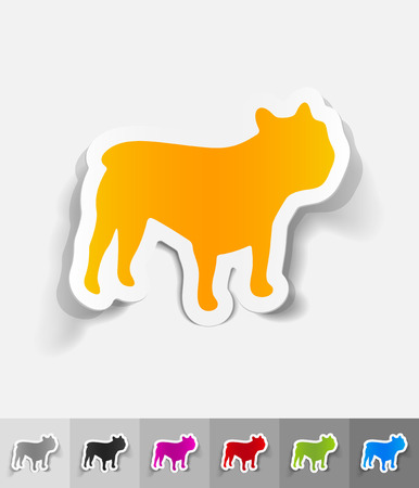 french bulldog: french bulldog paper sticker with shadow. Vector illustration
