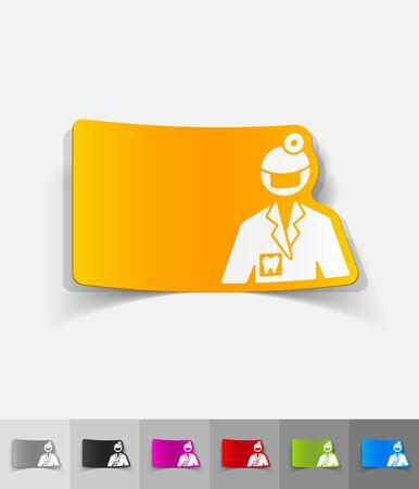 stomatologist: stomatologist paper sticker with shadow. Vector illustration Illustration