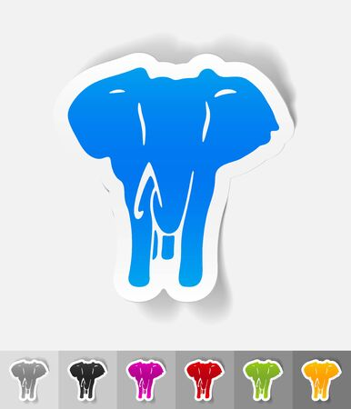 elephant paper sticker with shadow. Vector illustration