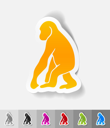 viviparous: monkey paper sticker with shadow. Vector illustration